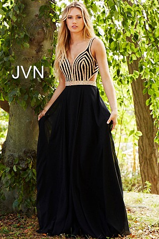 Black Gold Embellished Open Back Chiffon Prom Dress JVN59048