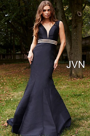 Black Embellished Belt Plunging Neck Mermaid Dress JVN59891
