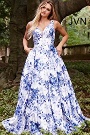 Jvn White Blue Floral Print Satin Prom Ballgown JVN60561