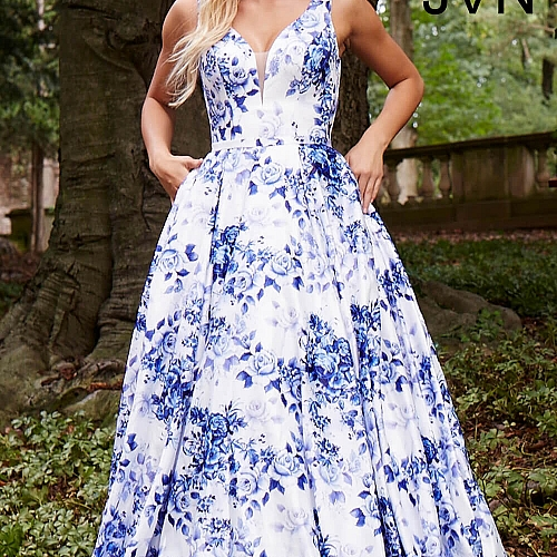 White blue print long a line plunging neck pleated dress with pockets mightylinksfo
