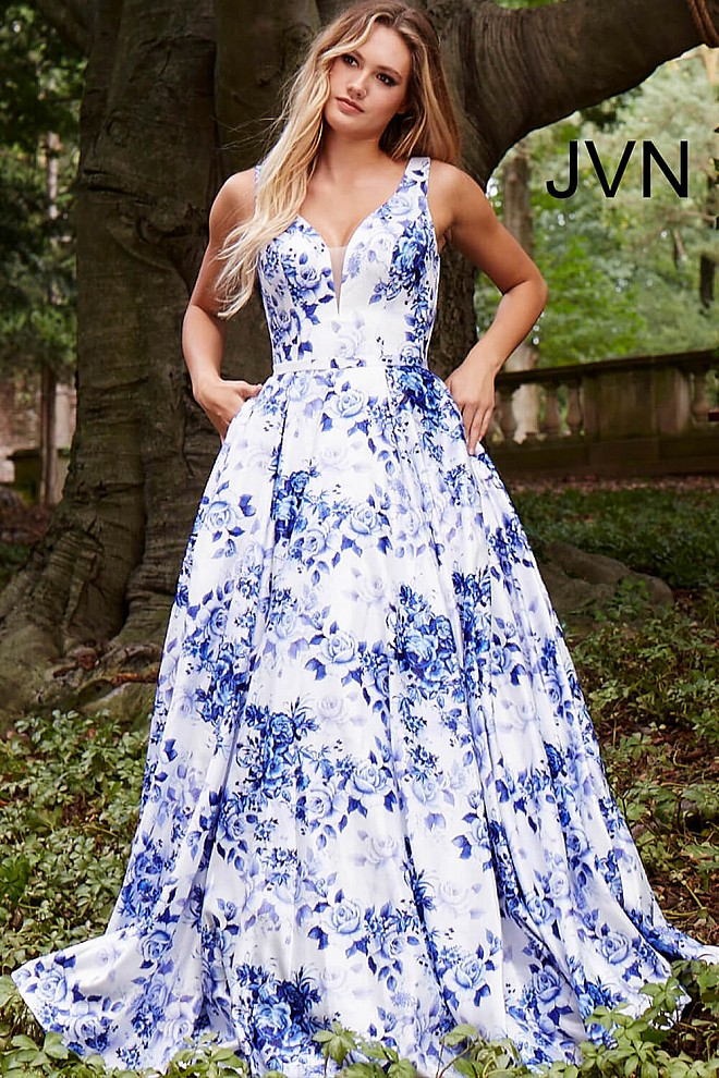 White Blue Print Long A Line Plunging Neck Pleated Dress With Pockets