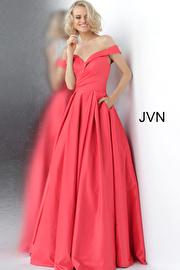 Cherry off The shoulder Bridesmaid Ballgown JVN66894