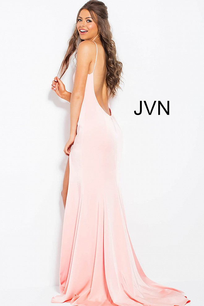Blush Long Fitted High Neck With Spaghetti Straps Sleeveless Dress