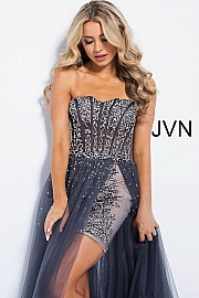 Charcoal High Low Strapless Prom Dress JVN55886