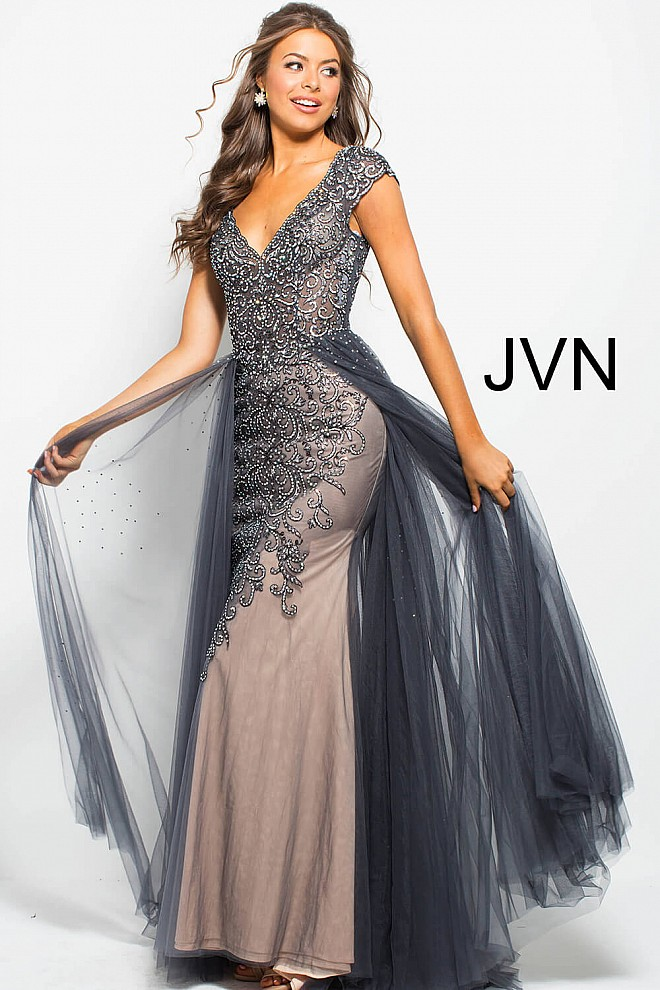 Charcoal long fitted v neck tulle over skirt embellished prom gown cf0480acd203