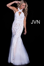Ivory Nude Criss Cross Neck Embellished Mermaid Dress JVN53216