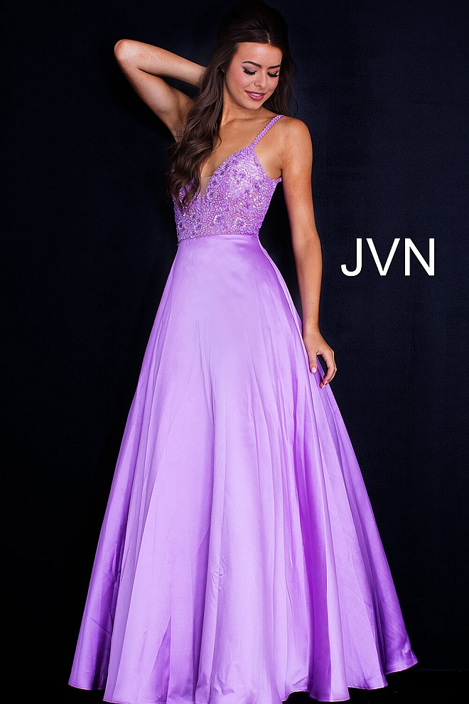 Lilac long A line mikado strapless plunging neck prom ballgown.