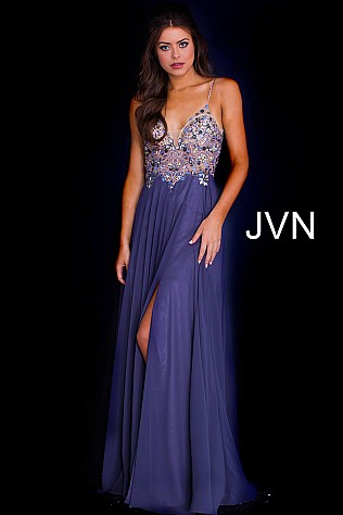 Ink Embellished Bodice Spaghetti Straps Prom Dress  JVN59128