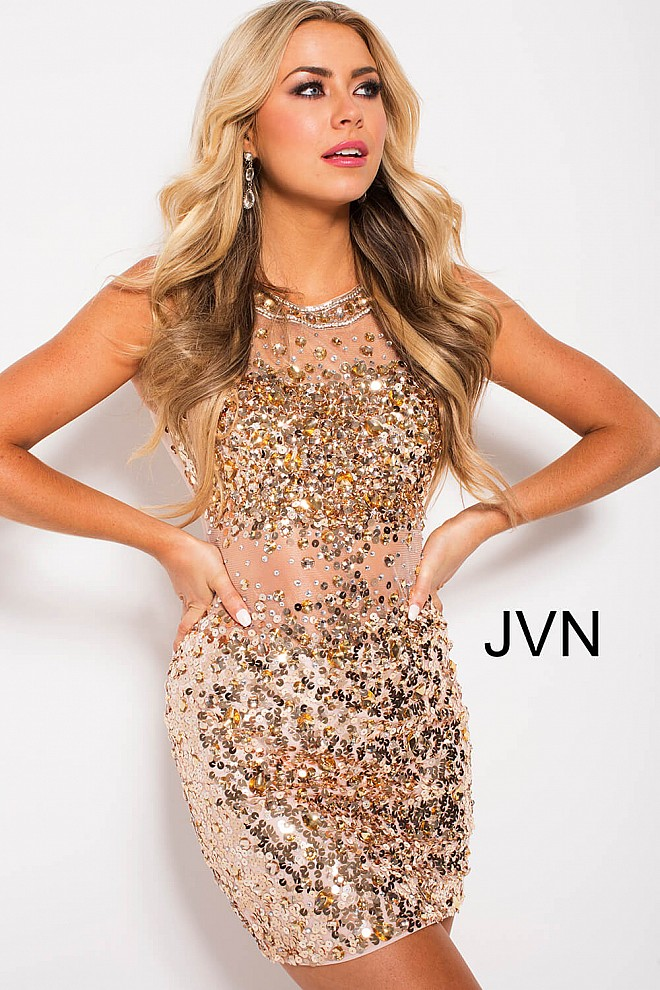 Gold Beaded Fitted Illusion Short Dress JVN32403