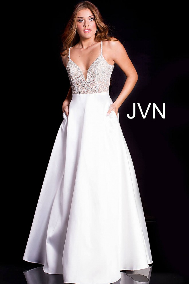 Off white long A line embellished sheer bodice v back prom gown.