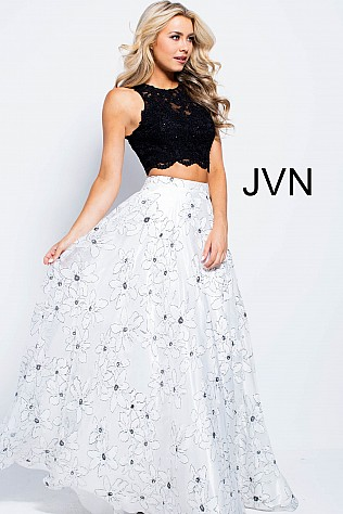 White Black Two Piece Lace Top Prom Ballgown JVN59810