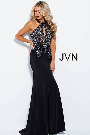 Black Gunmetal Embroidered Key Hole Neck Prom Dress JVN51320