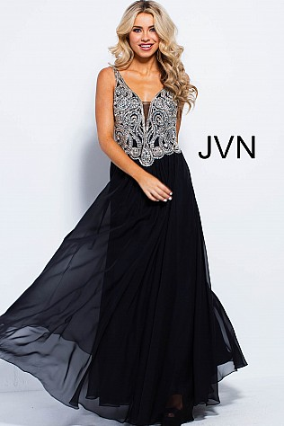 Black Embellished Bodice Chiffon Prom Dress JVN53126