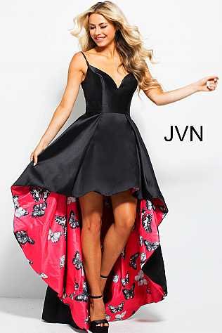 Black Fuchsia Print V Neck High Low Prom Dress JVN58013