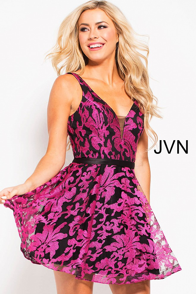 Black Fuchsia Fit and Flare Plunging Neck Short Dress JVN53382