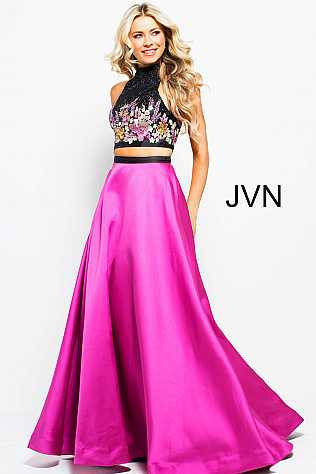 Black Fuchsia Floral Embroidered Two Piece Prom Ballgown JVN59350