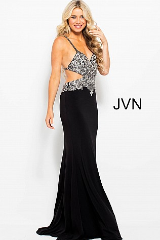 Black Embroidered Bodice with Cut Outs Prom Dress JVN50043