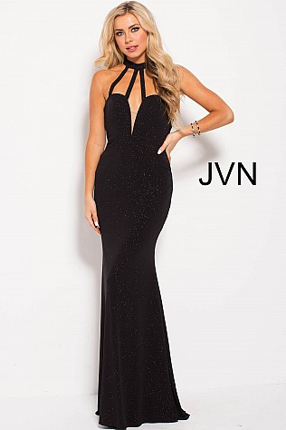 Black Fitted High Neck Glitter Jersey Prom Dress JVN60600