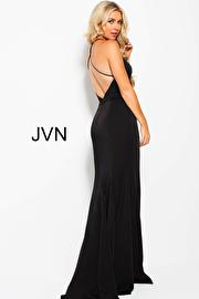 Black V Neckline Open back Bridesmaid Dress jvn55642