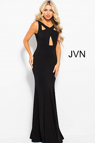 Black Fitted Jersey Cut Outs Prom Dress JVN58013