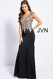 Black Cap Sleeve Fitted Embellished Bodice Prom Dress JVN48496