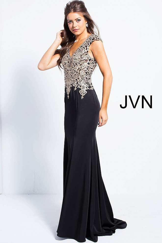 Black mermaid prom dress with gold embellished over sheer bodice cap ...