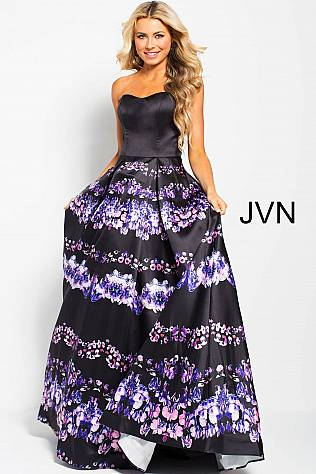 Black Multi Print Strapless Pleated Prom Ballgown JVN58589