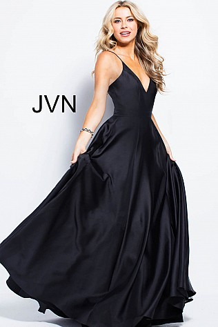 Satin Spaghetti Straps V Neckline Bridesmaid Dress JVN48791