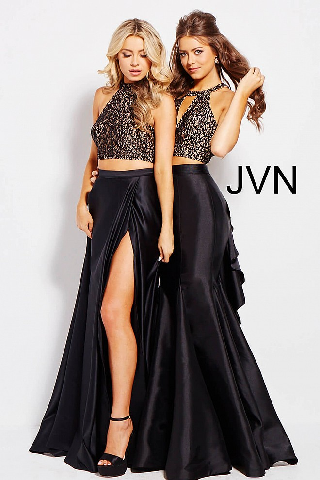 Black long two piece a-line high neck lace crop top prom dress.