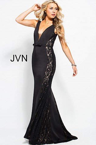 Black Fitted Lace Sides Plunging Neck Prom Dress JVN53160