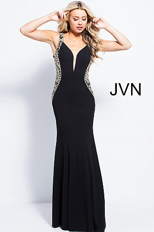 Black Fitted Plunging Neck Prom Dress JVN53351