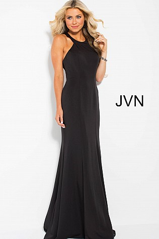 Black High Neck Fitted Sleeveless Prom Dress JVN55644