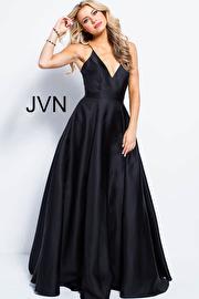 Satin Spaghetti Straps V Neckline Bridesmaid Dress JVN48791