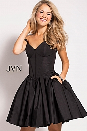 Black Fit and Flare Off the Shoulder Short Dress JVN54668