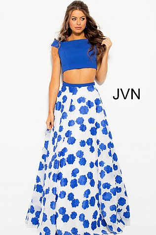 Ivory Royal Floral Print Two Piece A-Line Prom Dress JVN47874