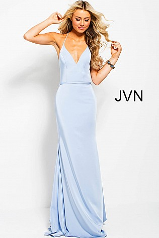 Light Blue Plunging Neck Open Back Fitted Prom Dress JVN55642