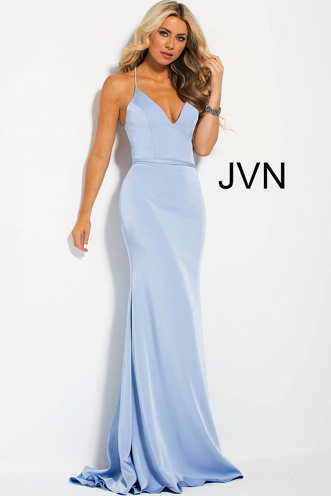 JVN55642 Light Blue Plunging Neck Open Back Fitted Prom Dress
