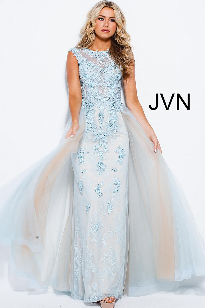 Sky blue tulle column jewel neckline close back prom dress.