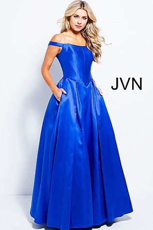 Royal Off the Shoulder Mikado Prom Ballgown  JVN51356