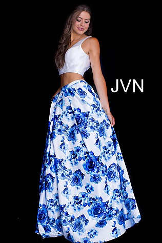 White Royal Two Piece Floral Print Prom Ballgown JVN60043