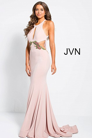 Dark Blush Key Hole Neck Side Cut Outs Jersey Prom Dress JVN49374