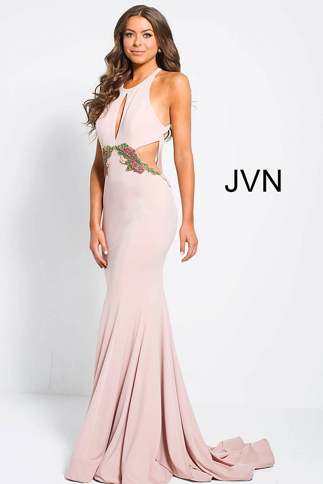 Dark blush embellished waist high key hole neckline jersey dress.