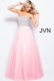 Jvn Blush Strapless Embellished Tulle Prom Ballgown JVN52131