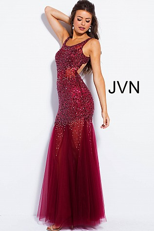 Wine Embellished Fitted Low Back Prom Dress JVN55771