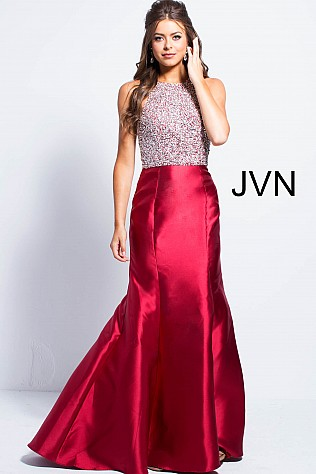 Burgundy High Neck Embellished Bodice Mermaid Dress JVN57615