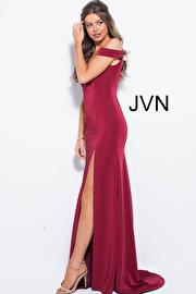 Taupe Off The Shoulder High Slit Prom Dress JVN57297