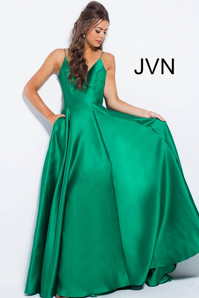 Green Satin V Neckline Bridesmaid Dress JVN48791