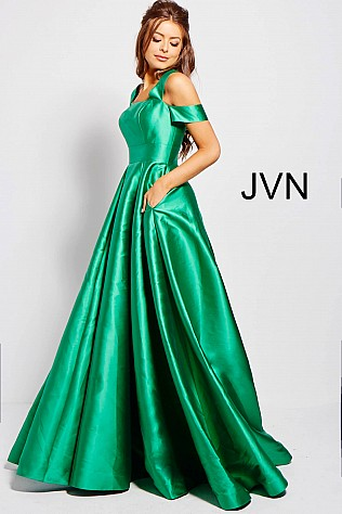Green Pleated Skirt Off the Shoulder Prom Gown JVN55410