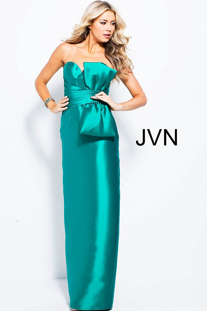 Green long straight pleated waist with bow back slit prom dress.
