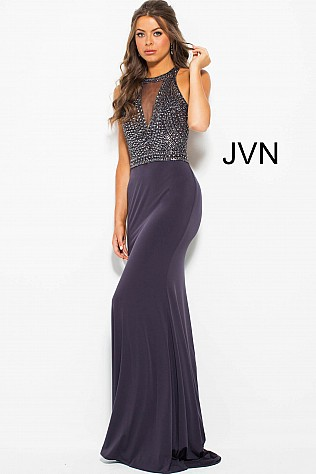 Grey Fitted High Neck Open Back Prom Dress JVN53130